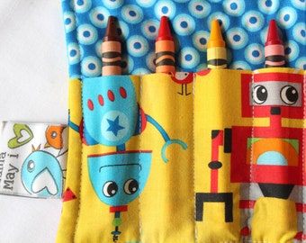 Crayon Wallet - Robot Disco - A Montessori and Waldorf Inspired Travel Toy for Self Guided Art