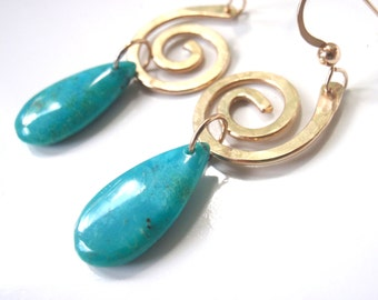 Gold and Turquoise Earrings, 14k Gold Filled, Genuine Blue Turquoise Dangles