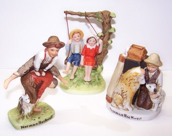 Figurines, Porcelain, Norman Rockwell, Collectibles, Home Decor, Vintage, Nostalgia, Children, Americana, Colorful, Free Shipping, Keepsakes