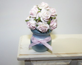 Miniature, Vase, Bouquet, Roses, Cream, Blush, Dollhouse, Petite, Miniature Decor, Home Decor, Handmade, Free Shipping, Flower Vase, Blue