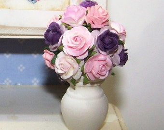 Bouquet, Miniature, Floral Arrangement, Purple, Roses, Get Well, Holiday, Birthday, Home Decor, Doll House, Petite, Roses, Pink, Violet