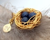 Personalized bird nest necklace with three lapis lazuli eggs and initial charm- gold plated woven wire with chain- September birthstone