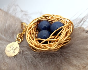 Personalized bird nest necklace with three lapis lazuli eggs and initial charm- gold plated woven wire- September birthstone crystal healing