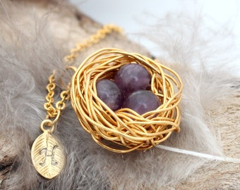 Personalized bird nest necklace with three amethyst eggs and initial charm- gold plated woven wire- February birthstone- crystal healing