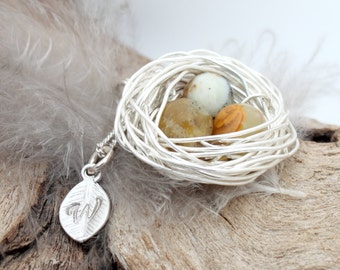 Personalized bird nest necklace with three yellow opal eggs and initial charm- silver plated woven wire- Sterling chain- October birthstone
