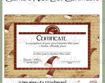 Santa's Nice List Certificate -  US and International Sizes - Digital Printable - Immediate Download