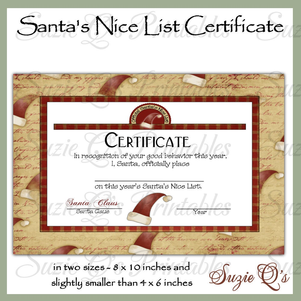 Santa's Nice List Certificate US and by SuzieQsCrafts on Etsy