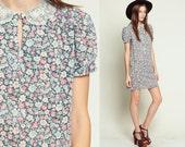 Grunge Dress Puff Sleeve 80s Floral Dress Mini LACE COLLAR Lolita Dolly KEYHOLE 90s Boho Vintage Hipster Shift Pink Blue Retro large