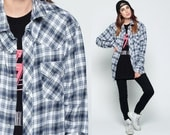 Pearl Snap Shirt FLANNEL Western 80s Plaid Shirt Navy Blue White Oversize 90s Grunge Button Down up Vintage Hipster Long Sleeve Large