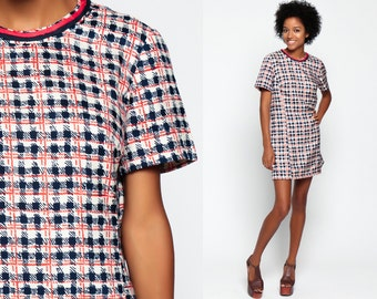 60s Plaid Dress 1960s Mod Shift Mini Checkered Mad Men Vintage Short Sleeve Day Plaid Navy Blue Orange Plus Size Schoolgirl Medium Large