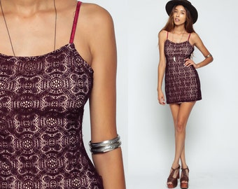 Lace Dress BODYCON 90s Grunge Mini Sleeveless 1990s Body Con Boho Sun Dress Spaghetti Strap Bohemian Tight Sundress Plum Small