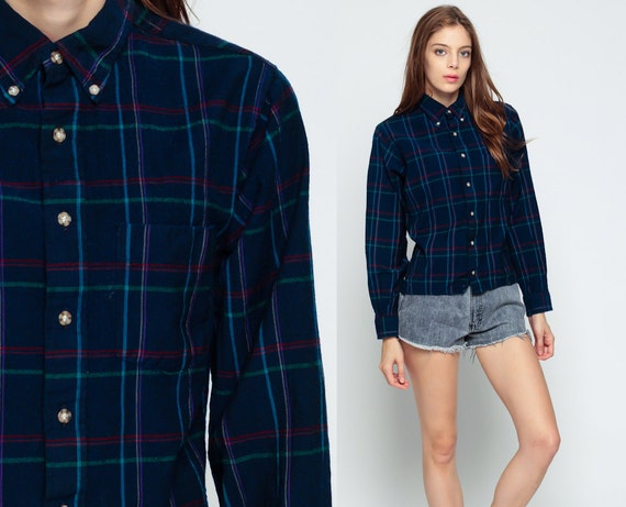Wool plaid shirt 90s grunge flannel navy blue 1990s lumberjack for Navy blue and red flannel shirt