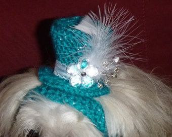 NEW-Jewels n Feathers Mini Top Hat for dog, cat -Made to fit-need measurement- up 20 lb pets