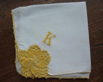 "Vintage White Hanky/Handkerchief.  ""K"" Monogram in Gold with Gold Crochet  Focal Corner"
