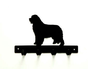 Newfoundland Dog Metal Art Leash or Key Rack - Free USA Shipping