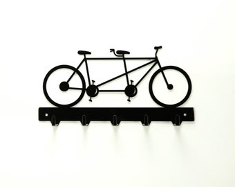 Tandem Bicycle Metal Art Key Rack - Free USA Shipping