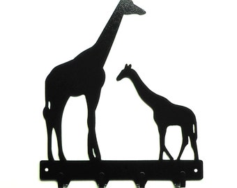 Giraffe Family Metal Art Key Rack - Free USA Shipping