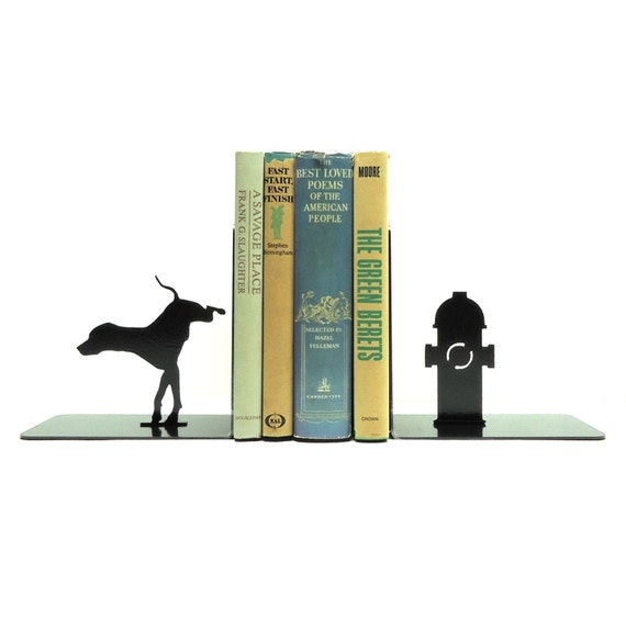 Dog & Fire Hydrant Metal Art Bookends - Free USA Shipping