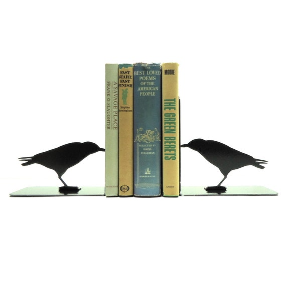 Raven Metal Art Bookends - Free USA Shipping