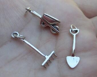 Sterling Silver Wheelbarrow Charm,Shovel or Garden Rake(You choose which one)