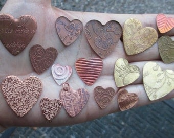 """Copper etched design hearts(one pair)1-1/8"""",7/8"""" or 5/8"""" size or 7/8"""" frame"""