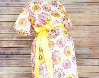 ON SALE 50% Off - Only size XS left - Sunny Maternity Labor and Delivery Hospital Gown -Super Soft Fabric -Great price for moms on a budget