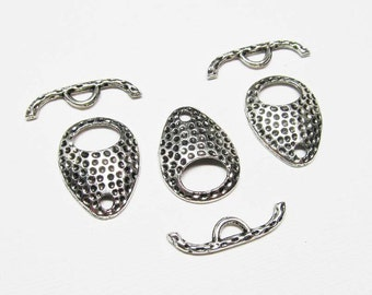 Toggle Clasp - Antiqued Silver Pewter - Spotted Teardrop Toggles (3 clasps) - Tog227