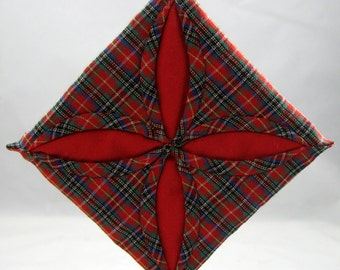 Red  and Green Plaid Cathedral Window Quilted Christmas Ornament 106