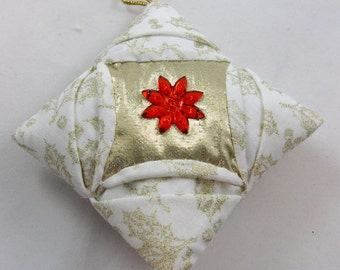 White and Gold Cathedral Window Quilted Christmas Ornament 115