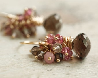 Autumn Earrings with Smokey Quartz and Pink Tourmaline in Gold