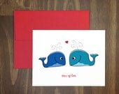 valentines day / tons of love / sperm whale couple / ocean lover / anniversary / friendship / besties / birthday / thank you / blank inside