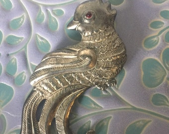 Large & Special Antique Sterling Silver Cockatoo Bird Brooch Ruby Cab Eye 27 grams
