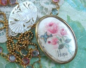 assemblage bird necklace decoupage roses romantic clipart upcycle pendant