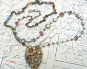 necklace fall assemblage floral autumn eclectic long