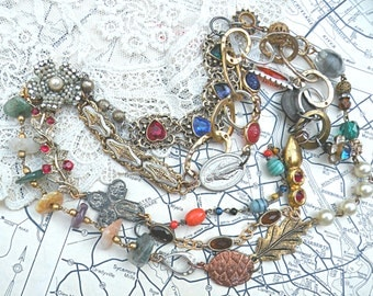 eclectic religious necklace assemblage multi strand catholic medal upcycle jewelry chains baubles