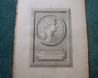 1724 Antique Print of Apollo, God of Music and Arts