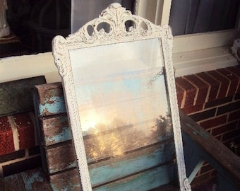 Vintage Shabby Chic Wood Gesso Frame Baroque Rococo Frame French Chic Distressed Chippy Paint in Antique White
