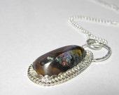 Boulder opal necklace pendant, sterling silver handcrafted pendant, Australian boulder opal, gemstone, natural stone, handcut Koroite opal