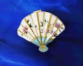 Vintage Trinket Box, Asian Oriental Fan Style, Collectible Decor Decorative, Home Office, Asian Decor, Vintage Decor, Figurine
