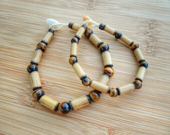 Kauai Bamboo Jewelry - Hawaiian Bamboo and Tigereye Bracelet
