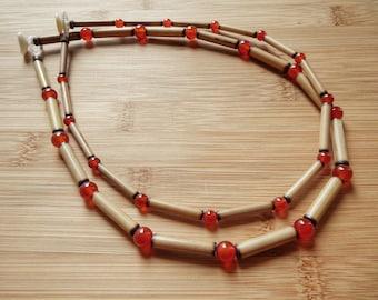 Kauai Bamboo Jewelry - Hawaiian Bamboo and Carnelian Necklace