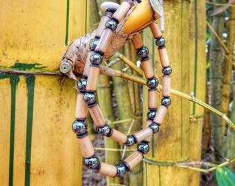 Kauai Bamboo Jewelry - Hawaiian Bamboo and Hematite Bracelet
