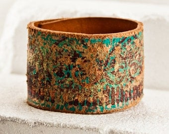 Distressed Jewelry Cuff Bracelet Sale - Leather Jewellery Wristband - Turquoise Teal Trends 2017