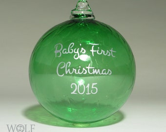 Personalized Baby's First Christmas Ornament Blown Glass Emerald Green Etch