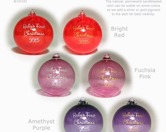 Personalized Christmas Ornament Custom Etched Engraved Blown Glass Ball