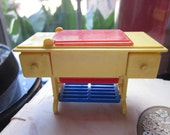 Vintage Renwal Dollhouse Sewing Machine #89 Yellow Red Blue Furniture