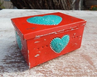 Tin Punch Trinket Box   ~  Red and Turquoise Tin Punch Rosary Box  ~  Southwest Decor Tin Punch Box  ~  Tin Punch Jewelry Box with Heart