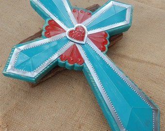 Turquoise and Red with Heart Tin Punch and Wood Cross