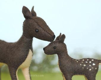 Woodland Deer Stuffed Animal Pattern * Felt Animal Pattern * Felt Stuffed Deer Toy Sewing Pattern w/ Doe, Fawn, and Buck