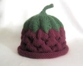 READY TO SHIP Knit Raspberry hat, knit baby hat, photo prop